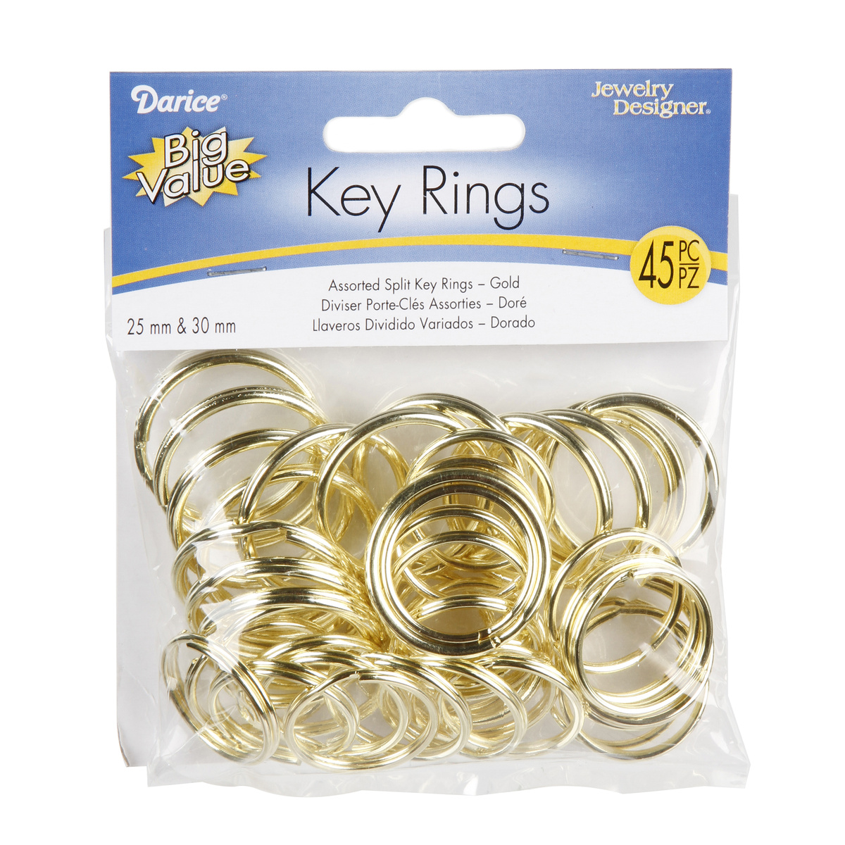 Brass Plated Key Ring Assortment, 25mm & 30mm