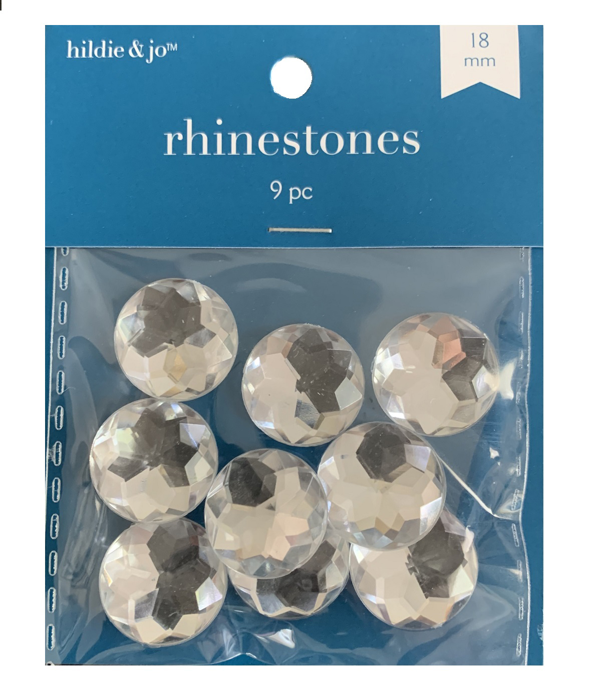 18mm Round Crystal Rhinestones, 9pc/pkg