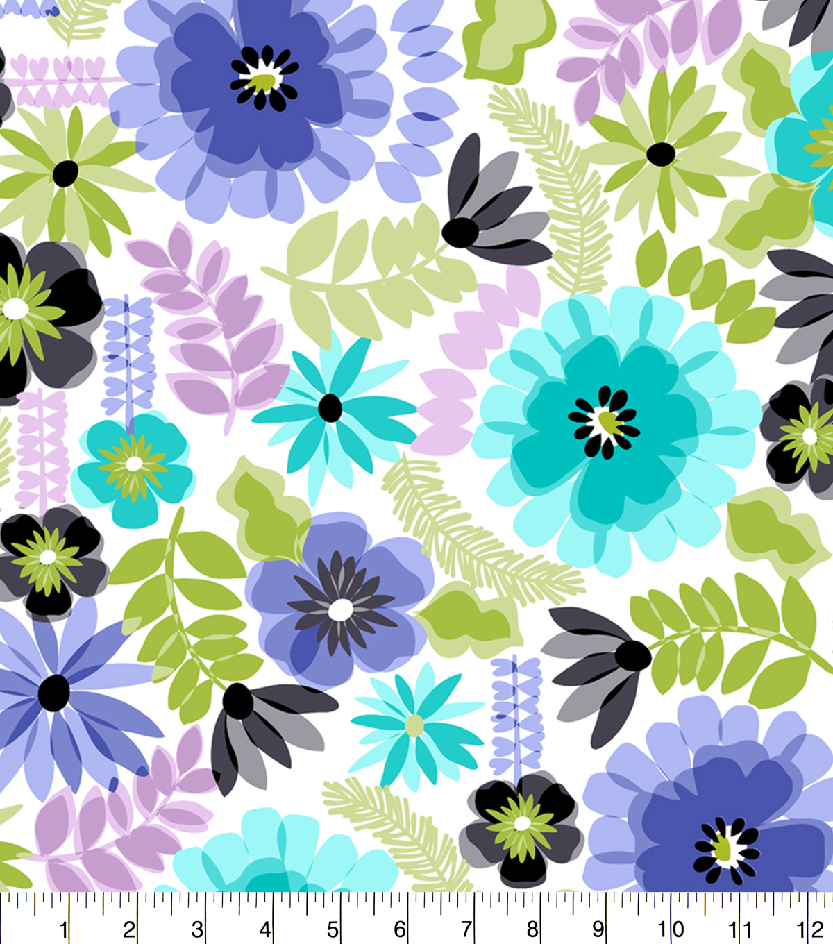 "Anti-Pill Fleece Fabric 58""-Blue Green Floral White"