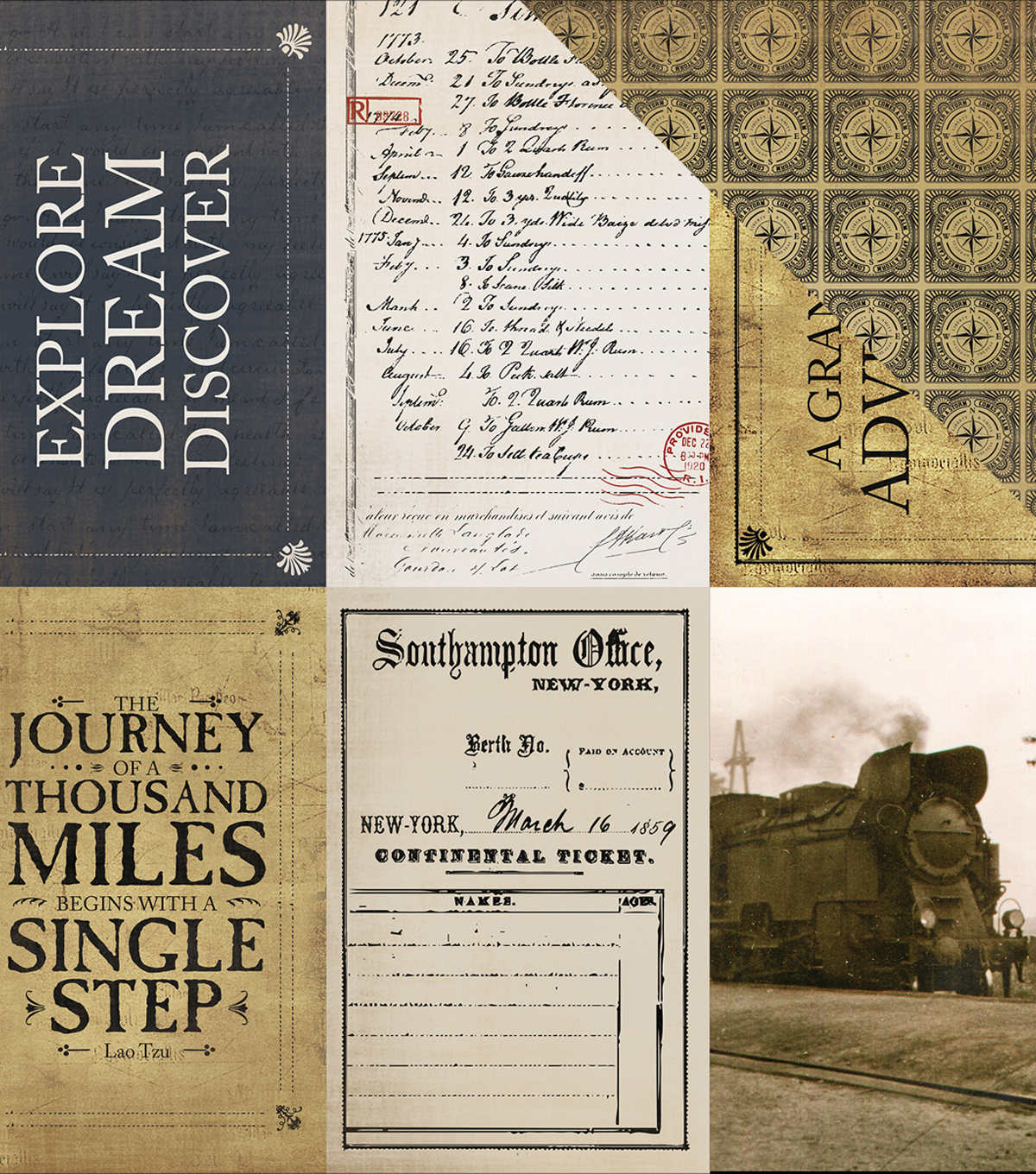 "Transatlantic Travel Double-Sided Cardstock 12""X12""-Journaling Cards"