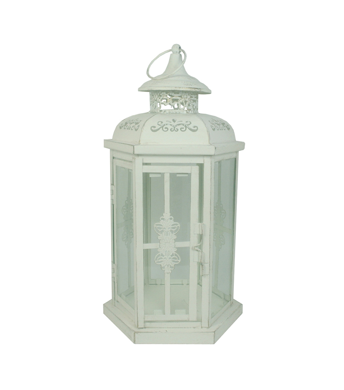 Hudson 43™ Candle & Light Collection Lantern-Distressed White