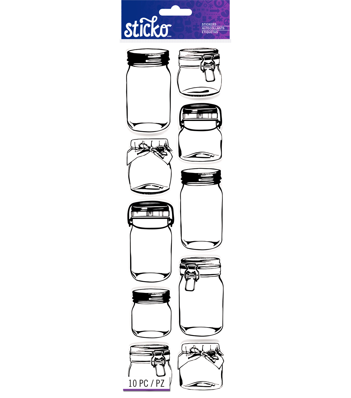 Sticko® 10 Pack Jar Shaped Labels-White