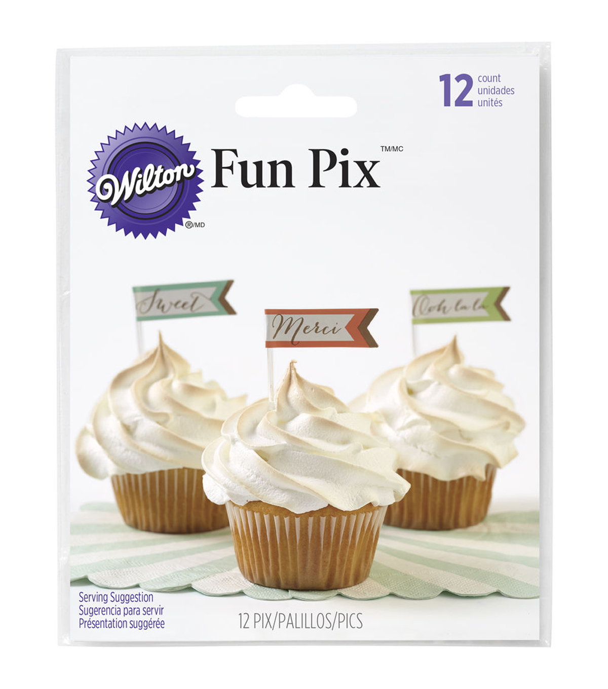 Wilton® French Inspired Fun Pix Cupcake Toppers 12ct