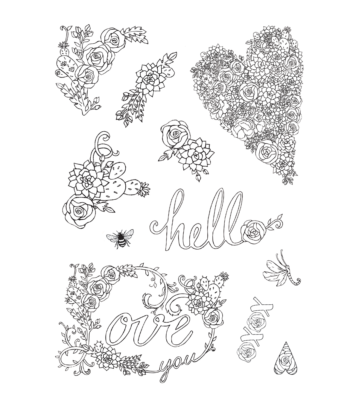 Sizzix® Jen Long 2 Pack Coloring Stickers-In Bloom