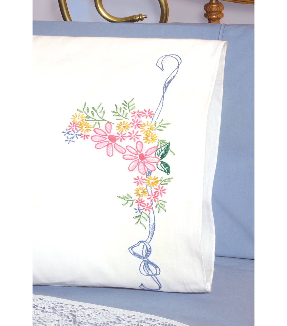 "Stamped Perle Edge Pillowcase 30""x20"" 2/Pkg-Ribbon&Flower"