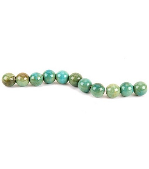 "Blue Moon .5"" Raku Large Round Strung Beads-11PK/Green"
