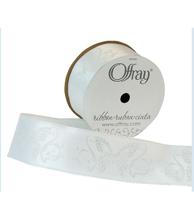 Offray 1.5\u0022x9\u0027 Glitter Butterfly Animal Single Faced Satin Wired Edge Ribbon-White