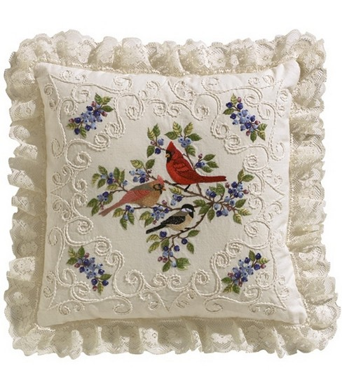 Birds And Berries Candlewicking Embroidery Kit-14\u0022X14\u0022