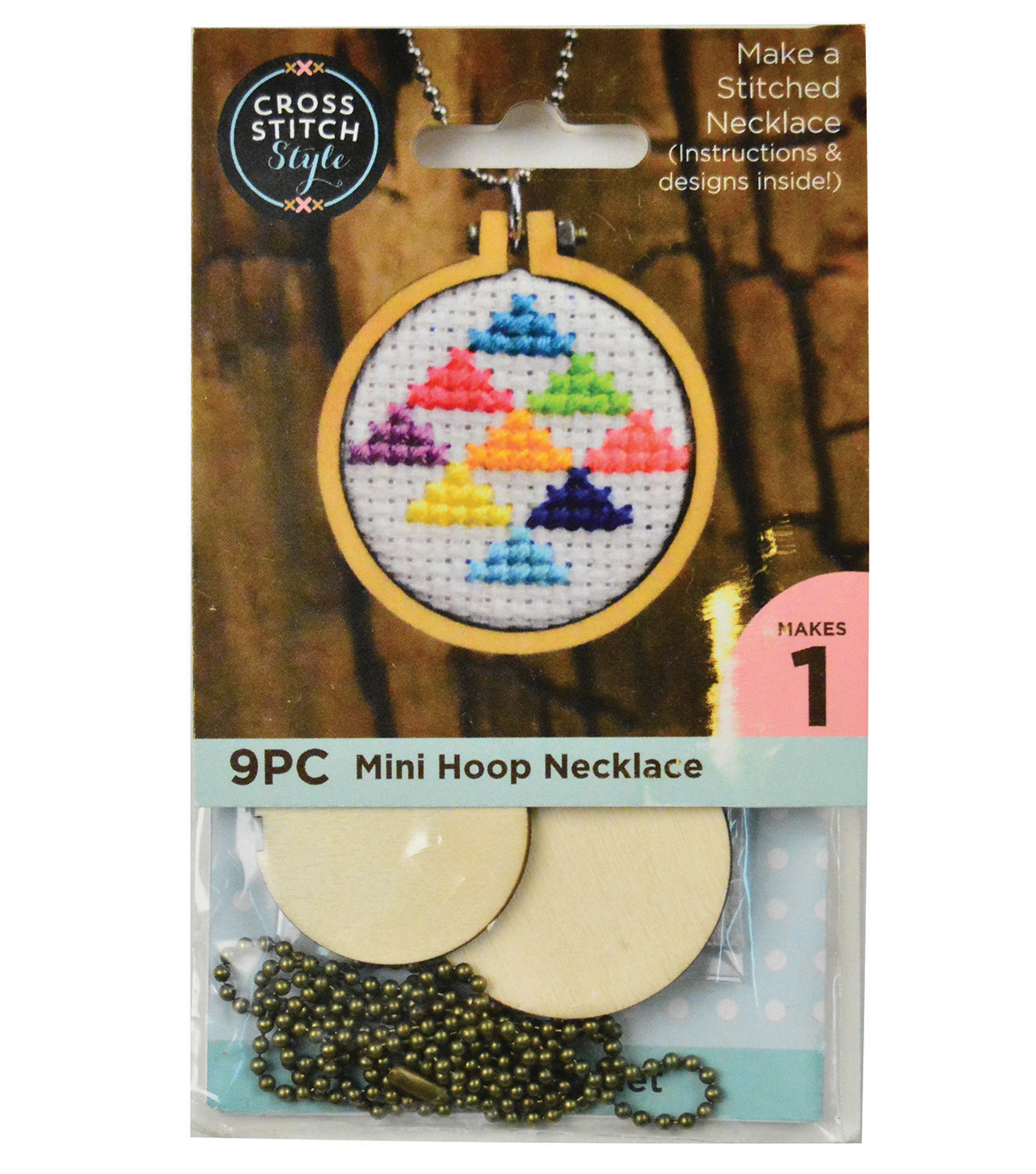 Cross Stitch Style Mini Embroidery Hoop Necklace