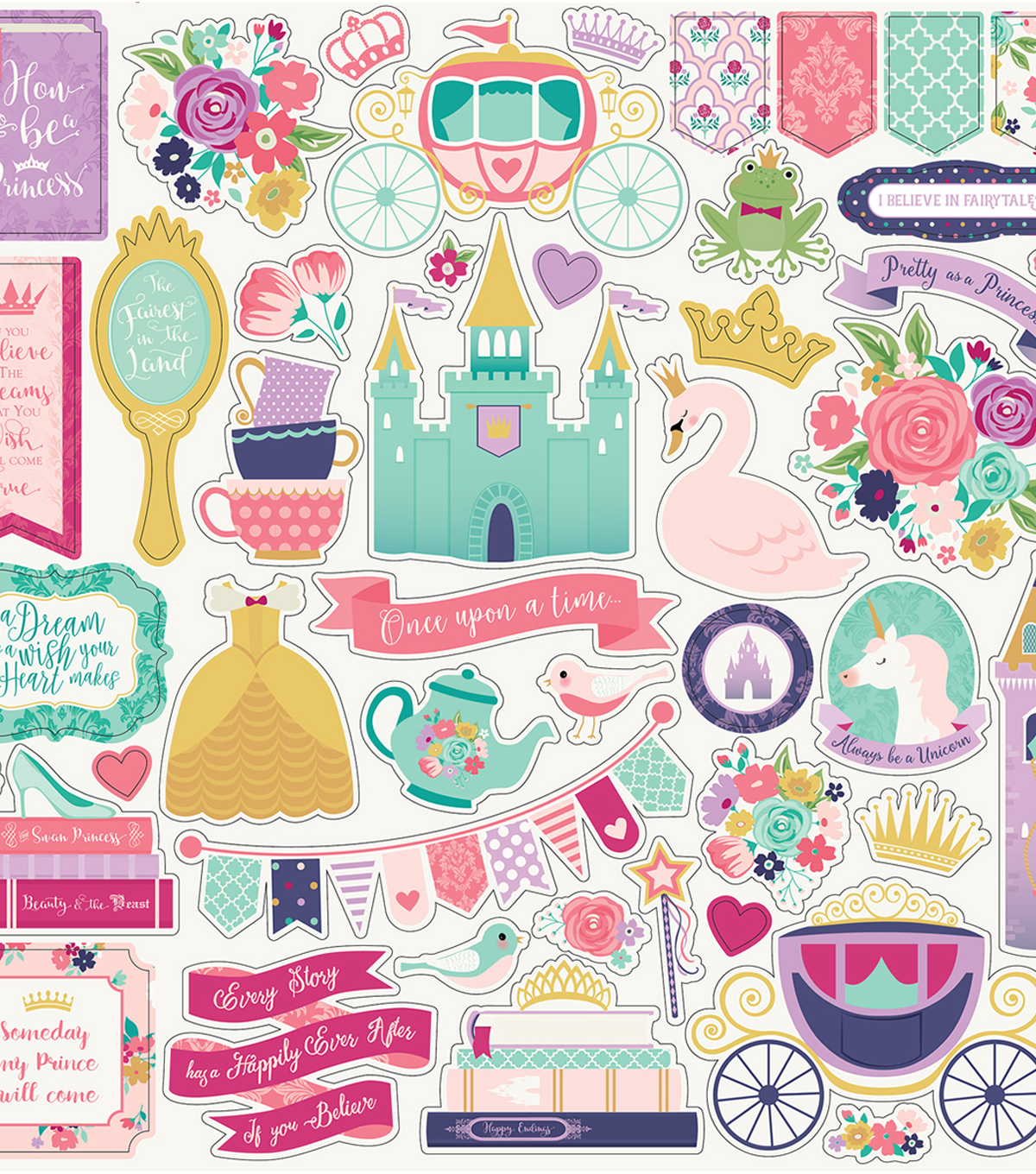Once Upon A Time Princess Cardstock Stickers 12\u0022X12\u0022-Element