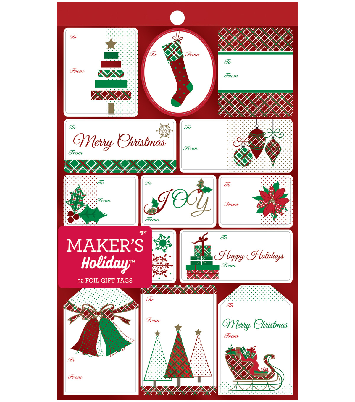 Maker\u0027s Holiday Christmas 52 pk Foil Gift Tags-Red, White & Green