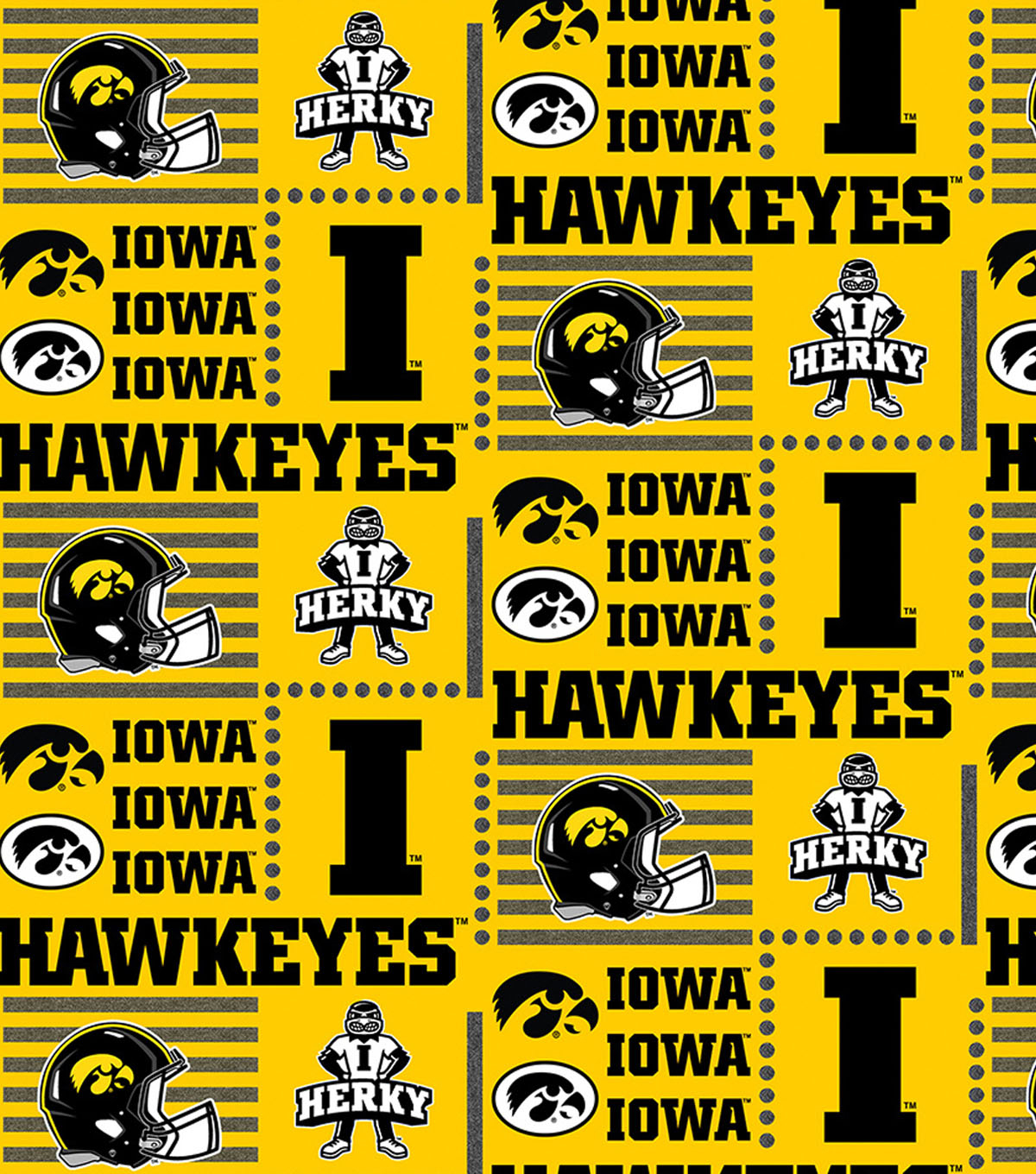 University of Iowa Hawkeyes Cotton Fabric 44\u0022-Patch Logos