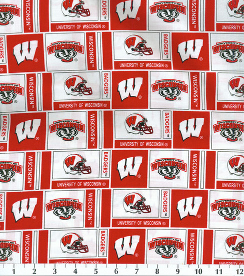 "University of Wisconsin Badgers Cotton Fabric 43""-Herringbone"