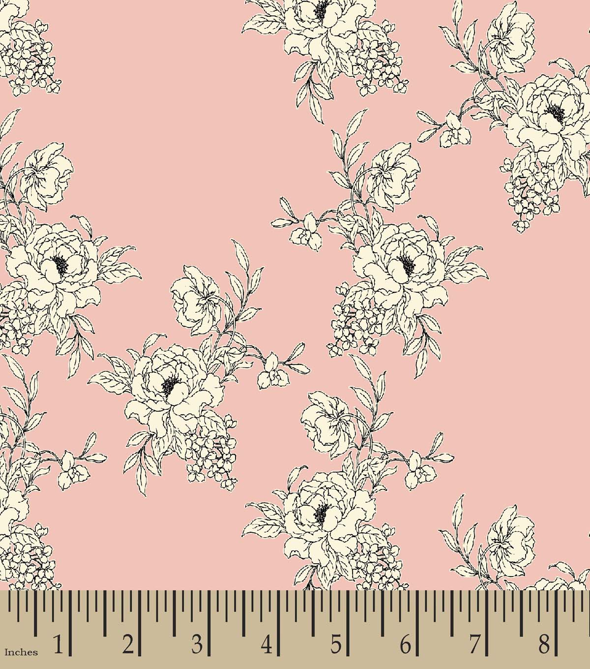 Pink & White Flowers Print Fabric