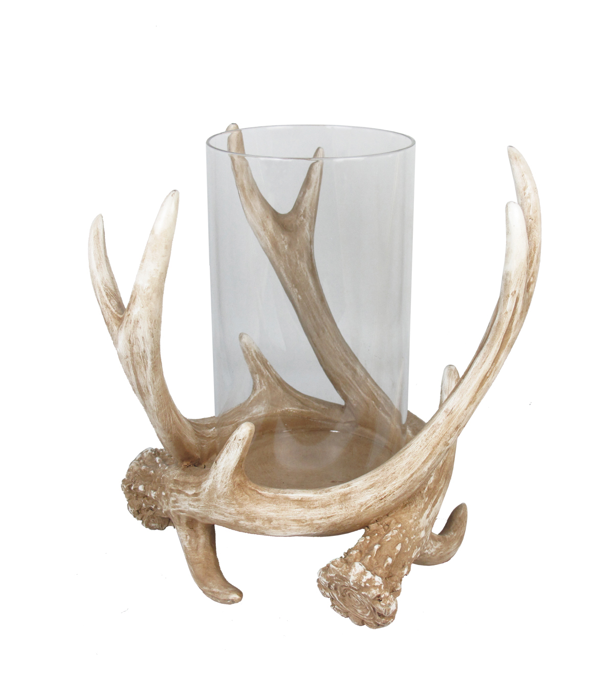 Fall Into Color Antler Hurricane Glass Candle Holder