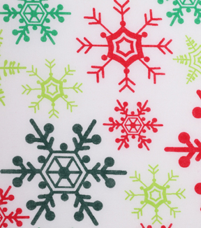 Holiday Showcase™ Christmas Cotton Fabric 43''-Red & GreenSnowflakes on White