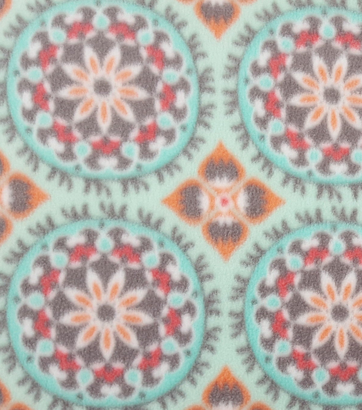 "Anti-Pill Fleece Fabric 59""-Mint Coral Geo"