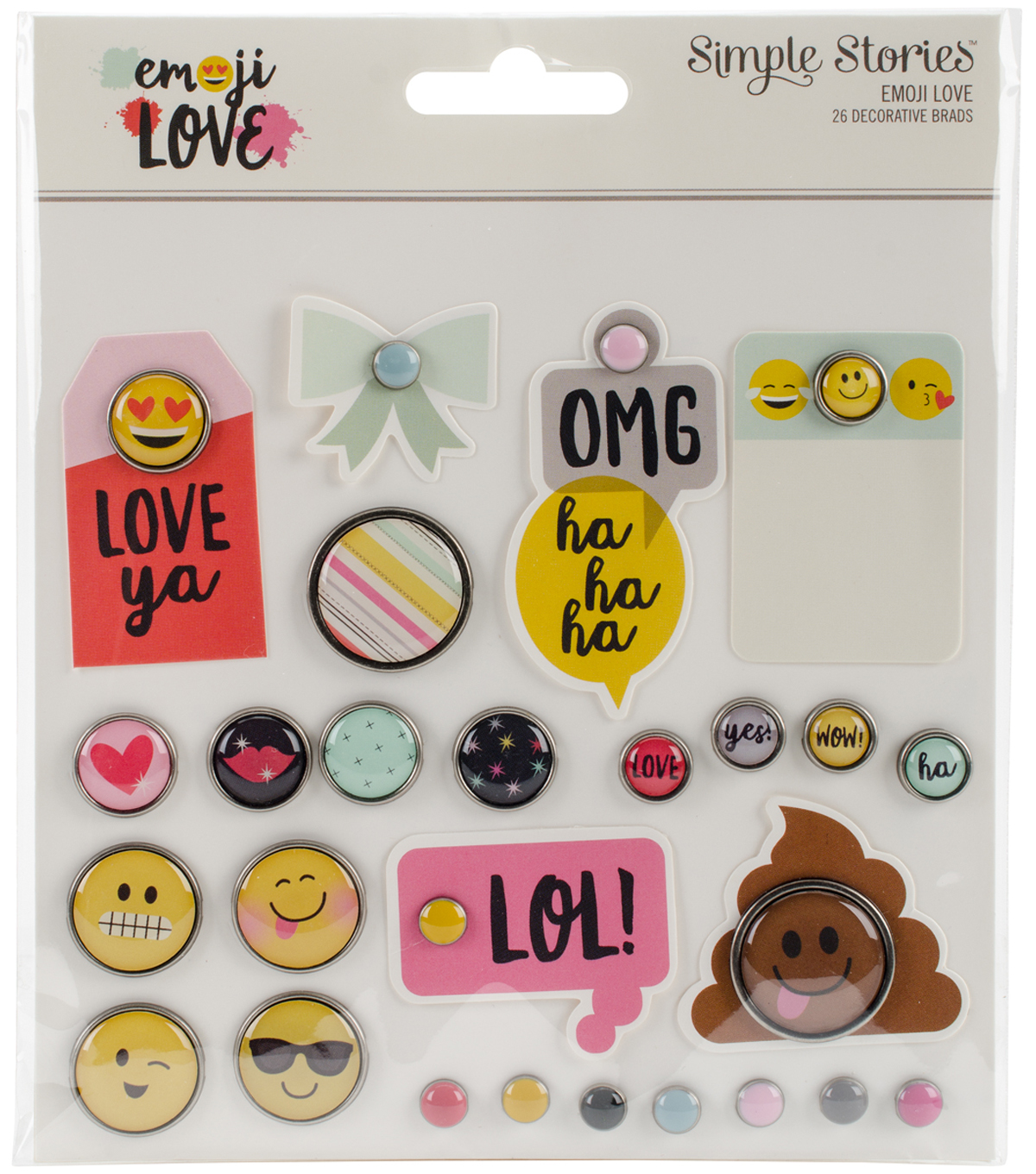 Emoji Love Metal Brads & Tags