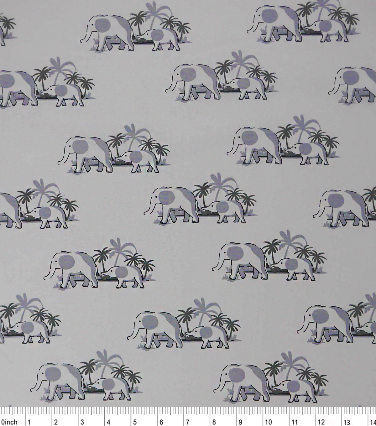"Nursery Cotton Fabric 43""-Sweet Elephant Gray"