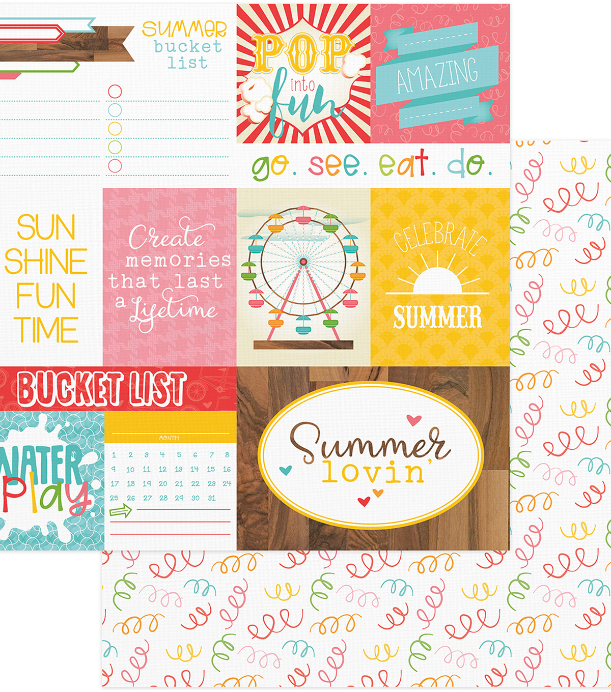 "Summer Bucket List Double-Sided Cardstock 12""X12""-Confetti"