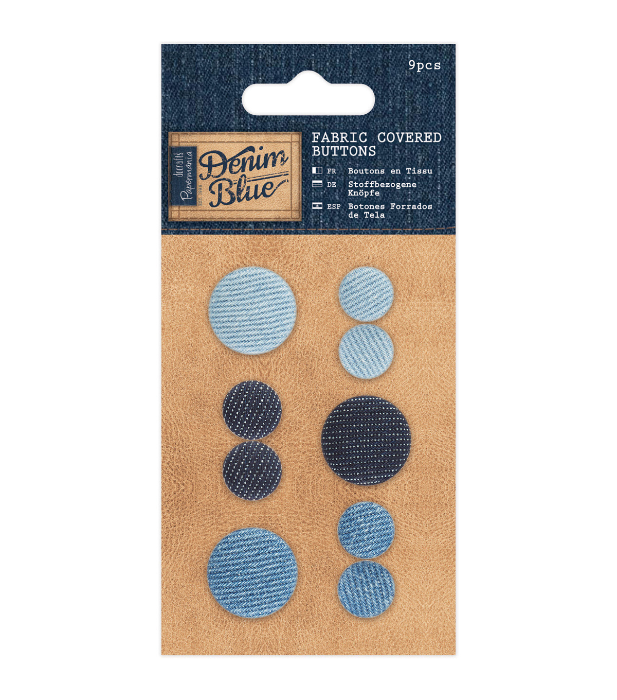 Papermania Denim Blue 9ct Fabric Covered Buttons