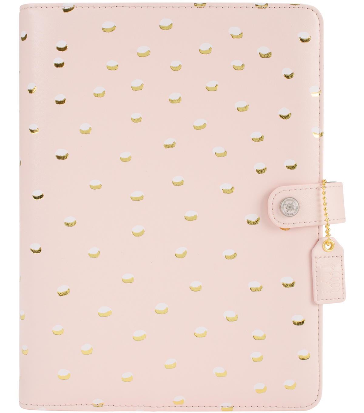 A5 Faux Leather 6-Ring Planner Binder 7.5\u0022X10\u0022-Blush & Gold Foil Dots