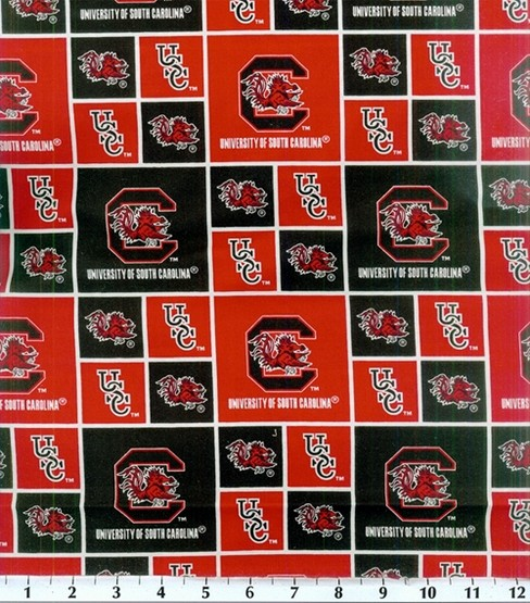 "University of South Carolina Gamecocks Cotton Fabric 43""-Logo"