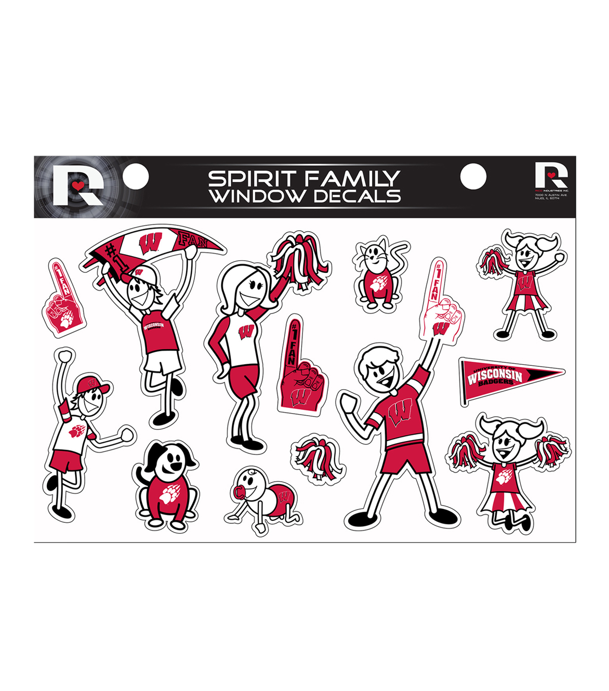 University of Wisconsin Badgers Window Decal-Family