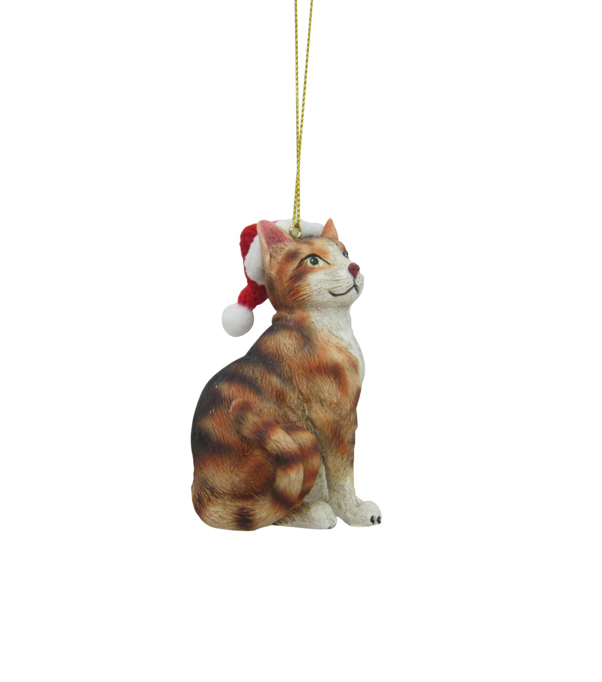 Maker's Holiday Christmas Resin Cat With Hat Ornament-Orange