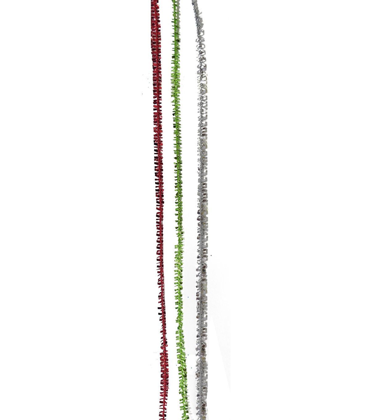 Maker\u0027s Holiday Christmas Fringe Ribbons 1/8\u0027\u0027x54\u0027-Red, Green & Silver