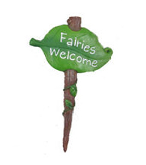 Fairy Garden Pick-Fairies Welcome Green