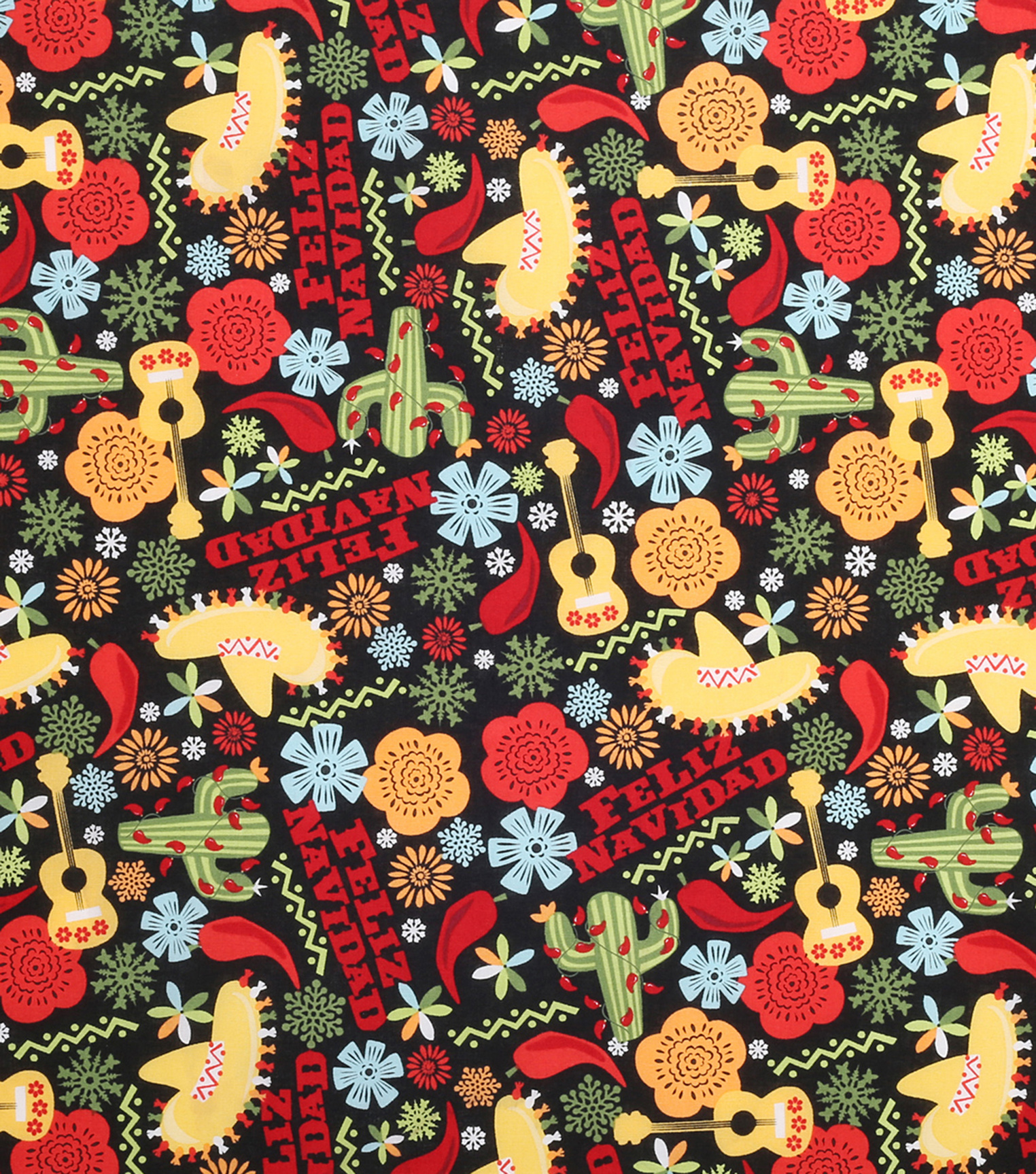 Christmas Cotton Fabric-Feliz Navidad And Flakes