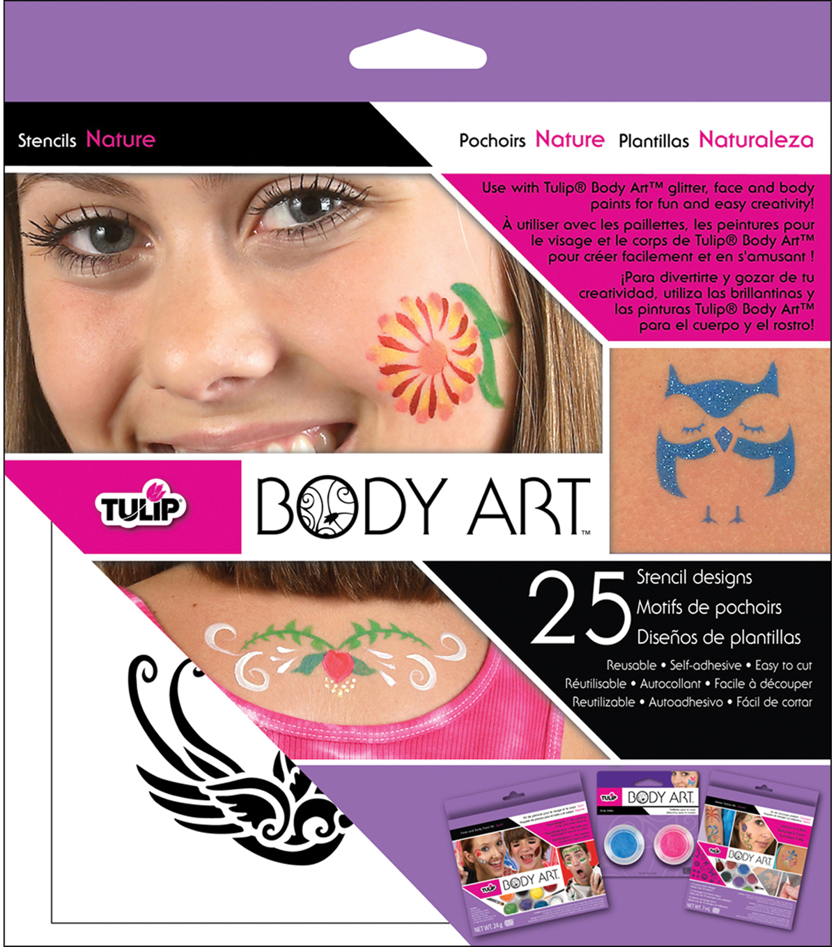 Tulip Body Art Stencil Designs-Nature 25/Pkg