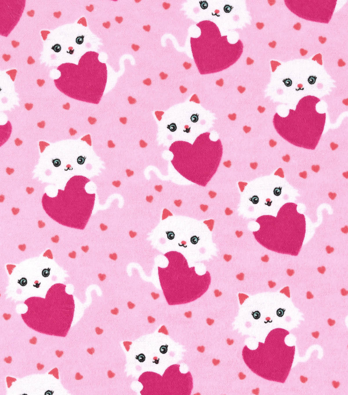 "Snuggle Flannel Fabric 42""-Kitty With Heart"
