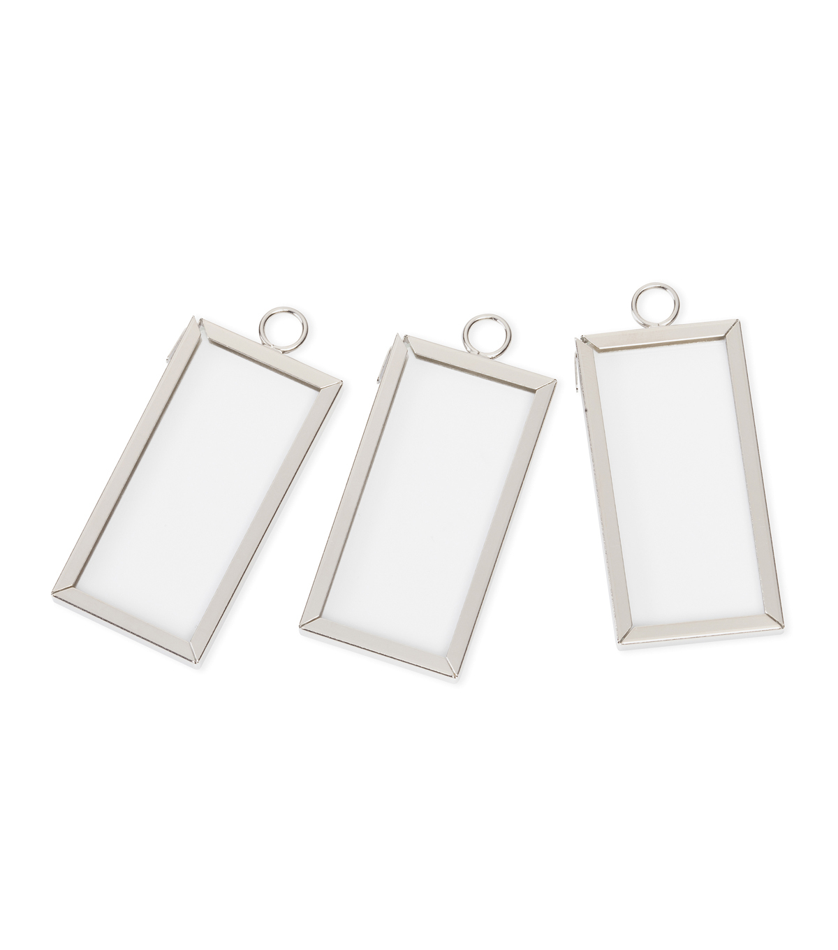 mini frame charm rectangle silver 1 x 2 inches 3 sets - Mini Frame