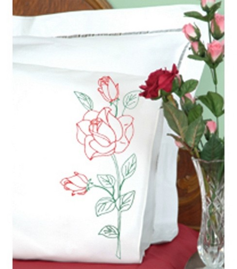 Jack Dempsey Stamped Pillow Cases With Perle Edge Long Stemmed Rose