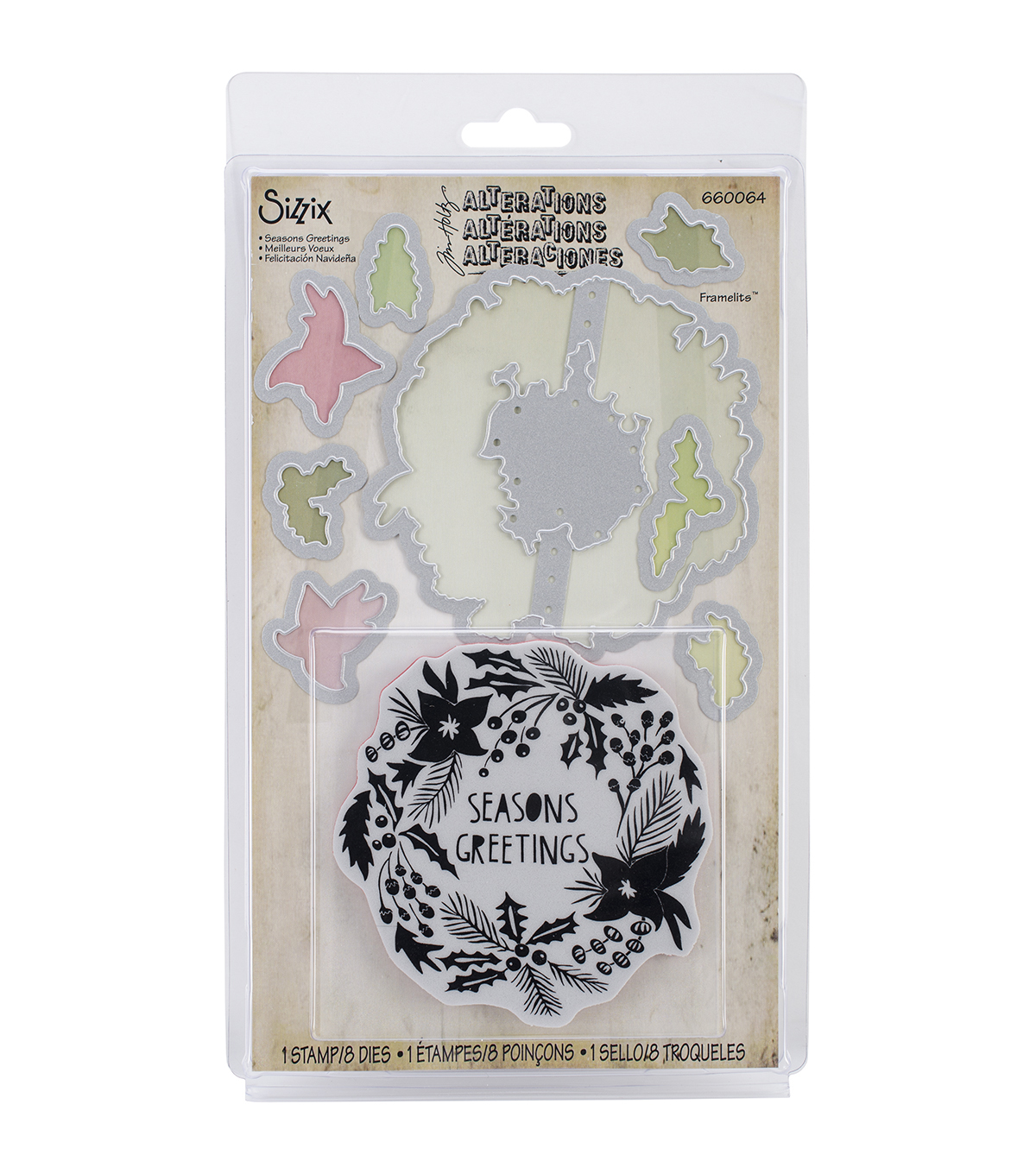 Sizzix Tim Holtz Seasons Greetings Framelits Dies With Cling Stamps