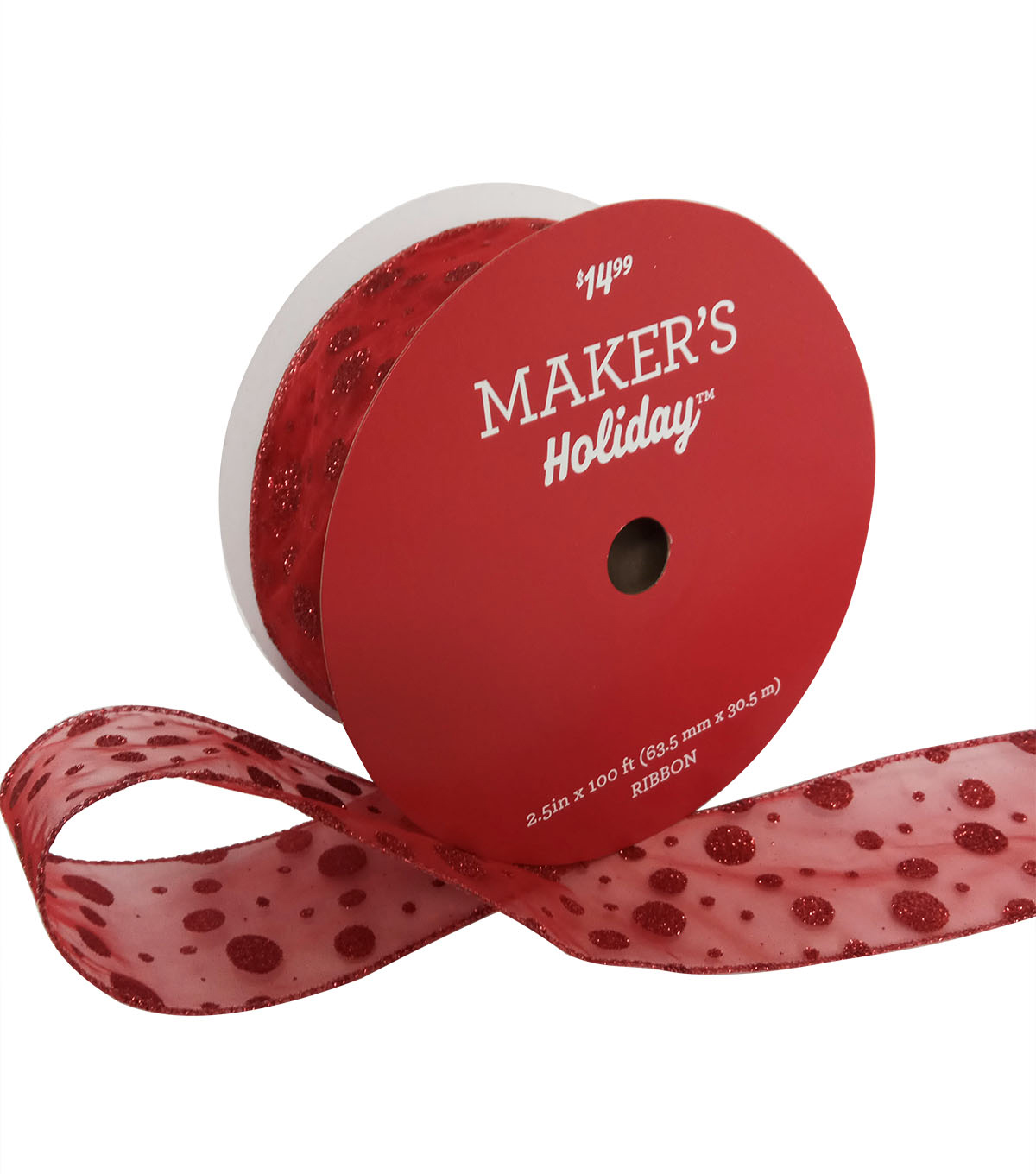 Maker\u0027s Holiday Christmas Value Ribbon 2.5\u0027\u0027x100\u0027-Red Glitter Dots
