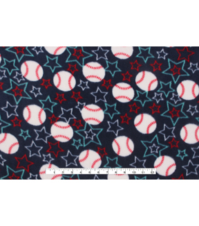 Anti-Pill Fleece Fabric 59\u0022-Baseball Stars On Navy