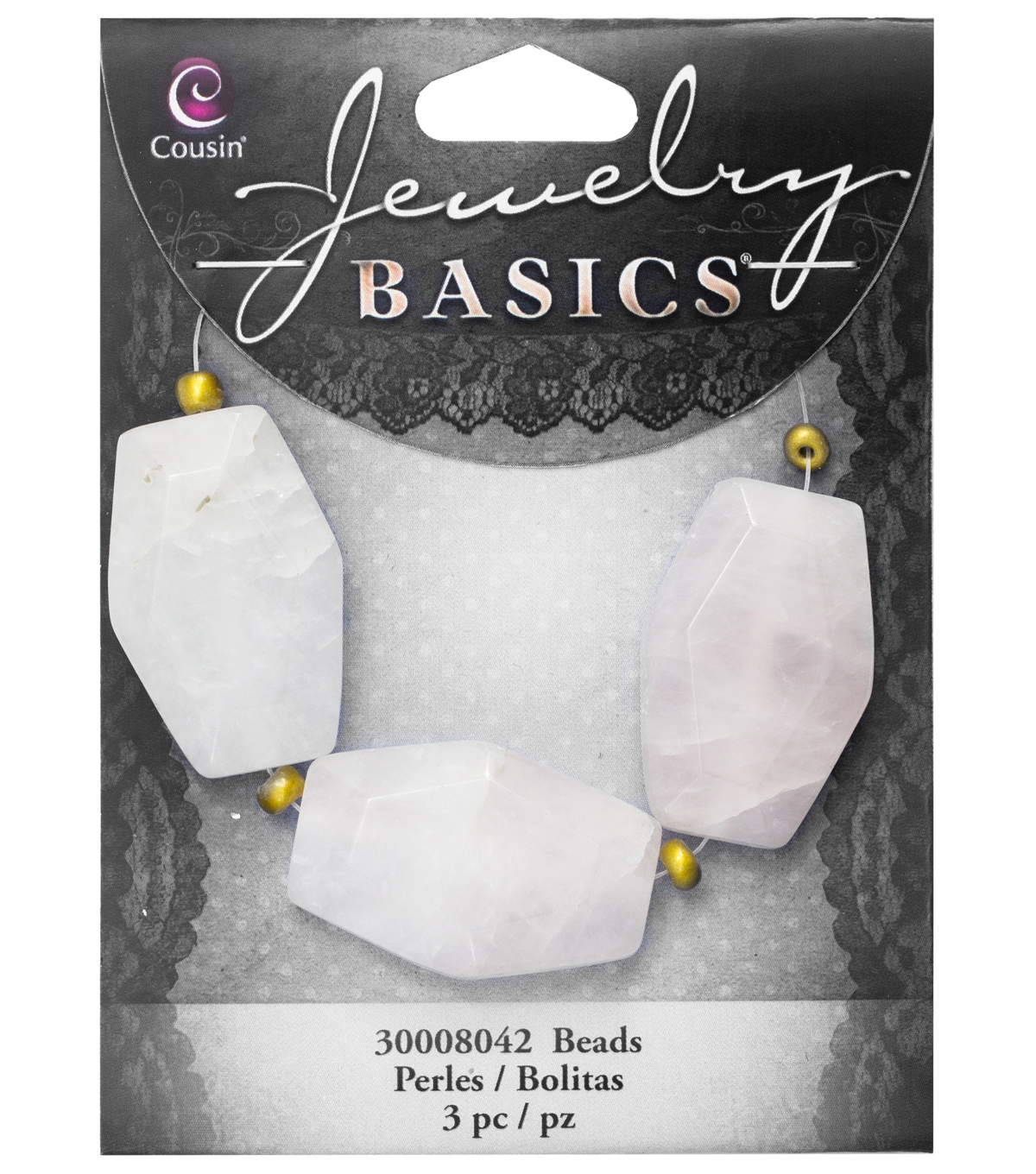 Cousin® Jewelry Basics 3 Pack Faceted Hexagon Stone Beads-White