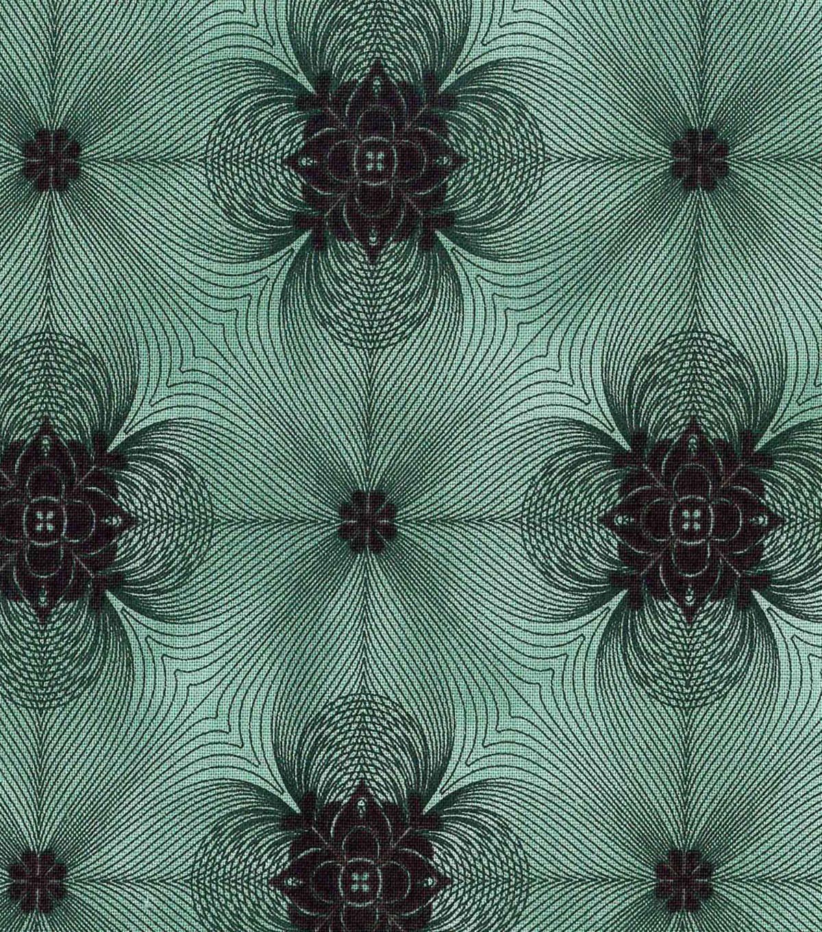 "Modern Cotton Fabric 43""-Spirograph Squares Green"