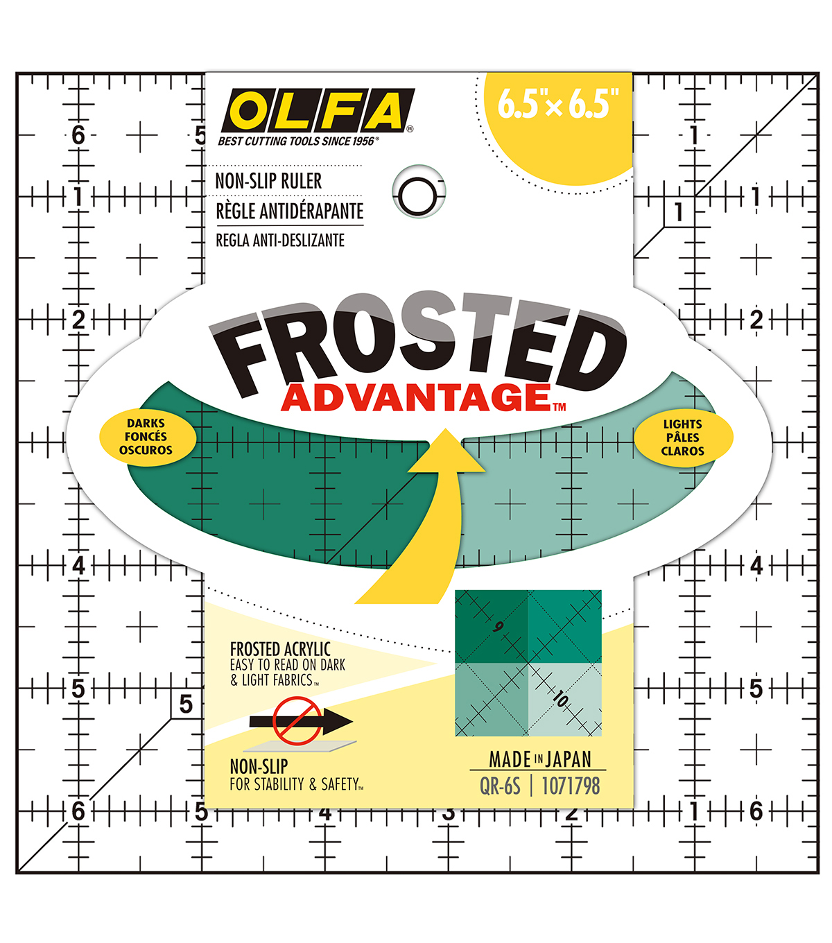 Olfa Frosted Ruler \u0022The Compact\u0022-6-1/2\u0022x6-1/2\u0022