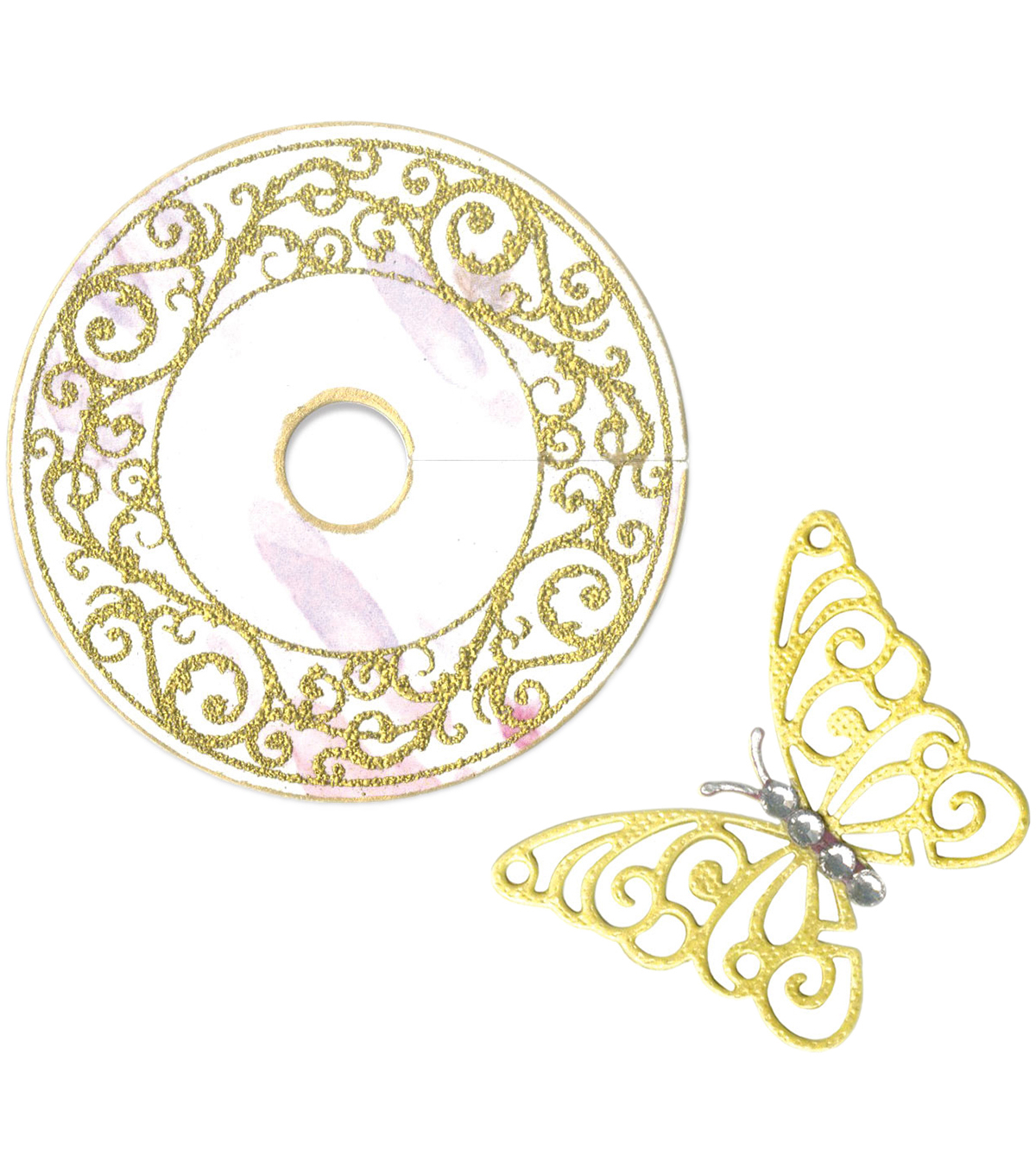 Sizzix® Framelits™ Dies with Stamp-Wine Glass Charm/Butterfly