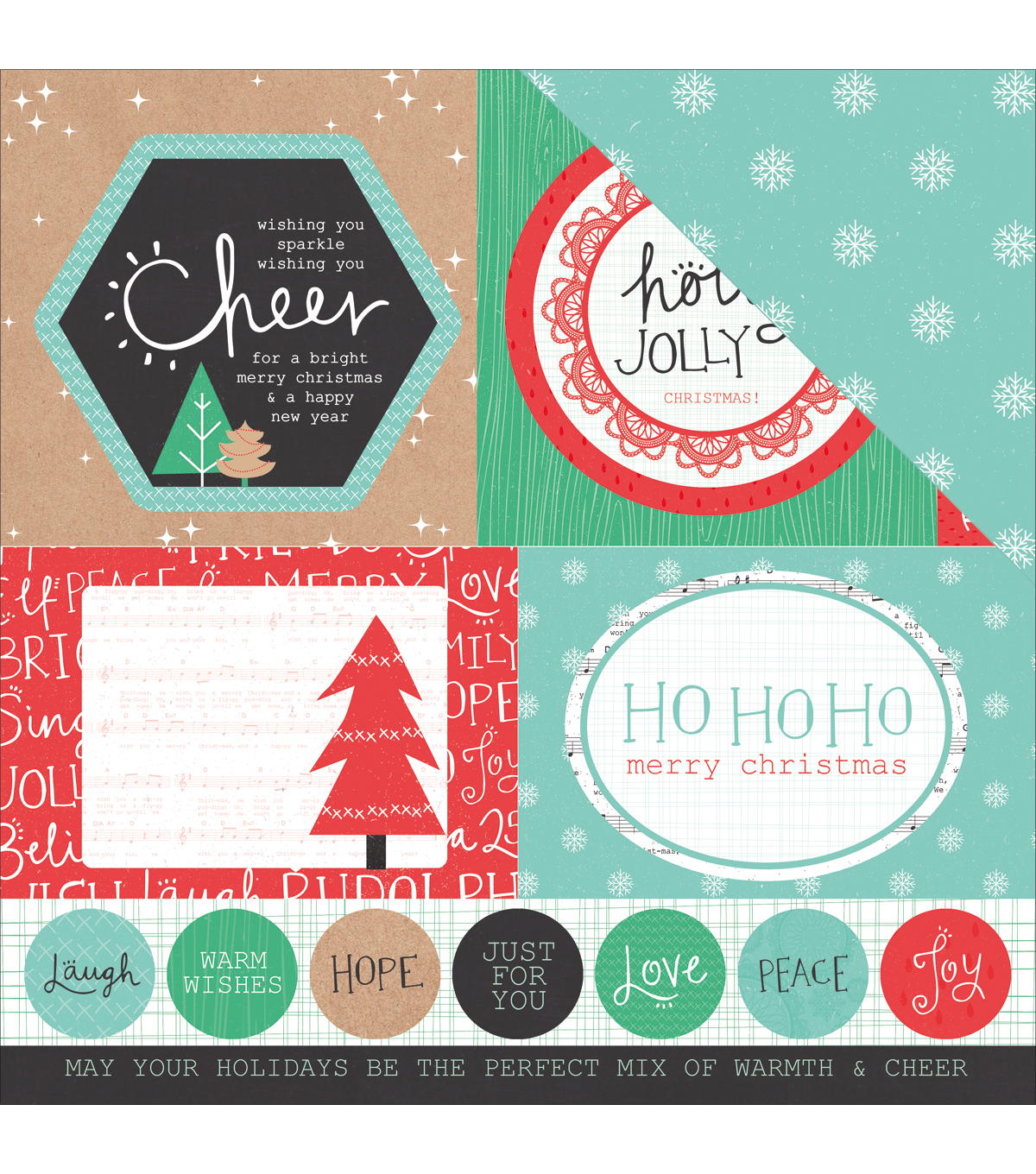 Kaisercraft Holly Jolly Double-Sided Cardstock-Sprightly