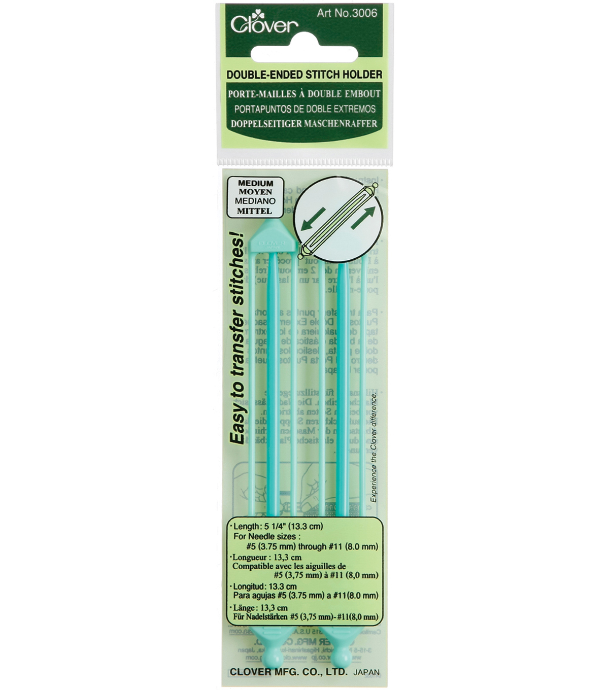 Clover Double Ended Stitch Holder Medium-2PK