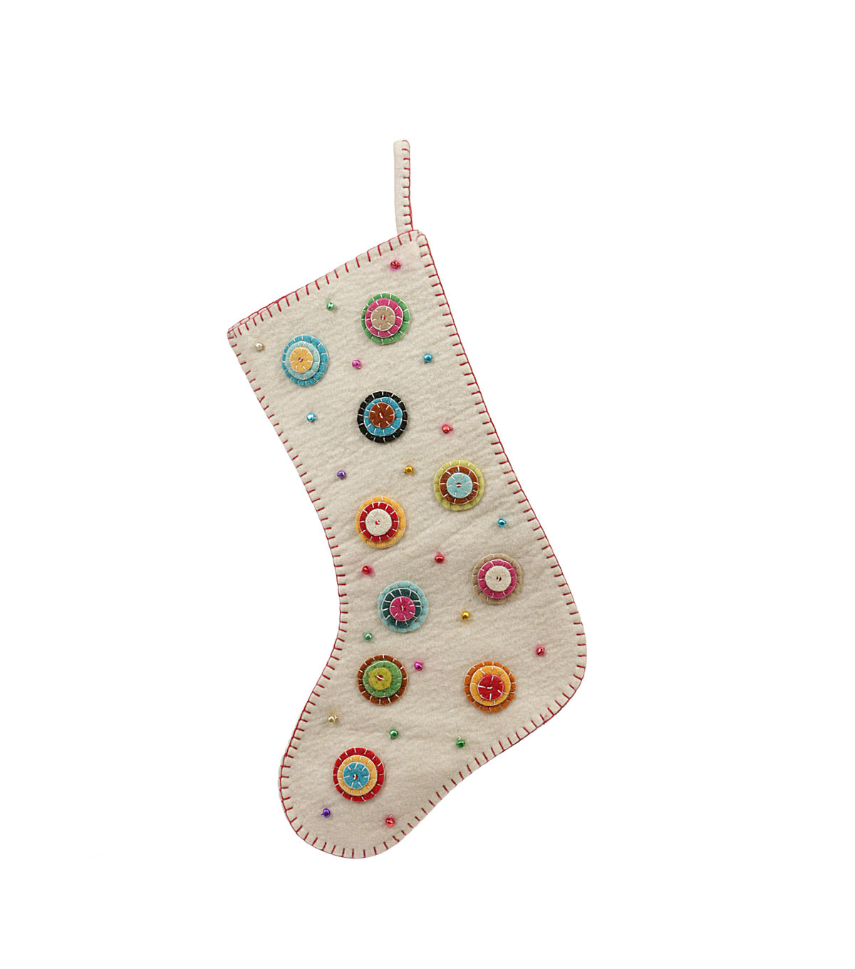 3R Studios Christmas Wool Stocking with Appliqued Felt Buttons & Beads