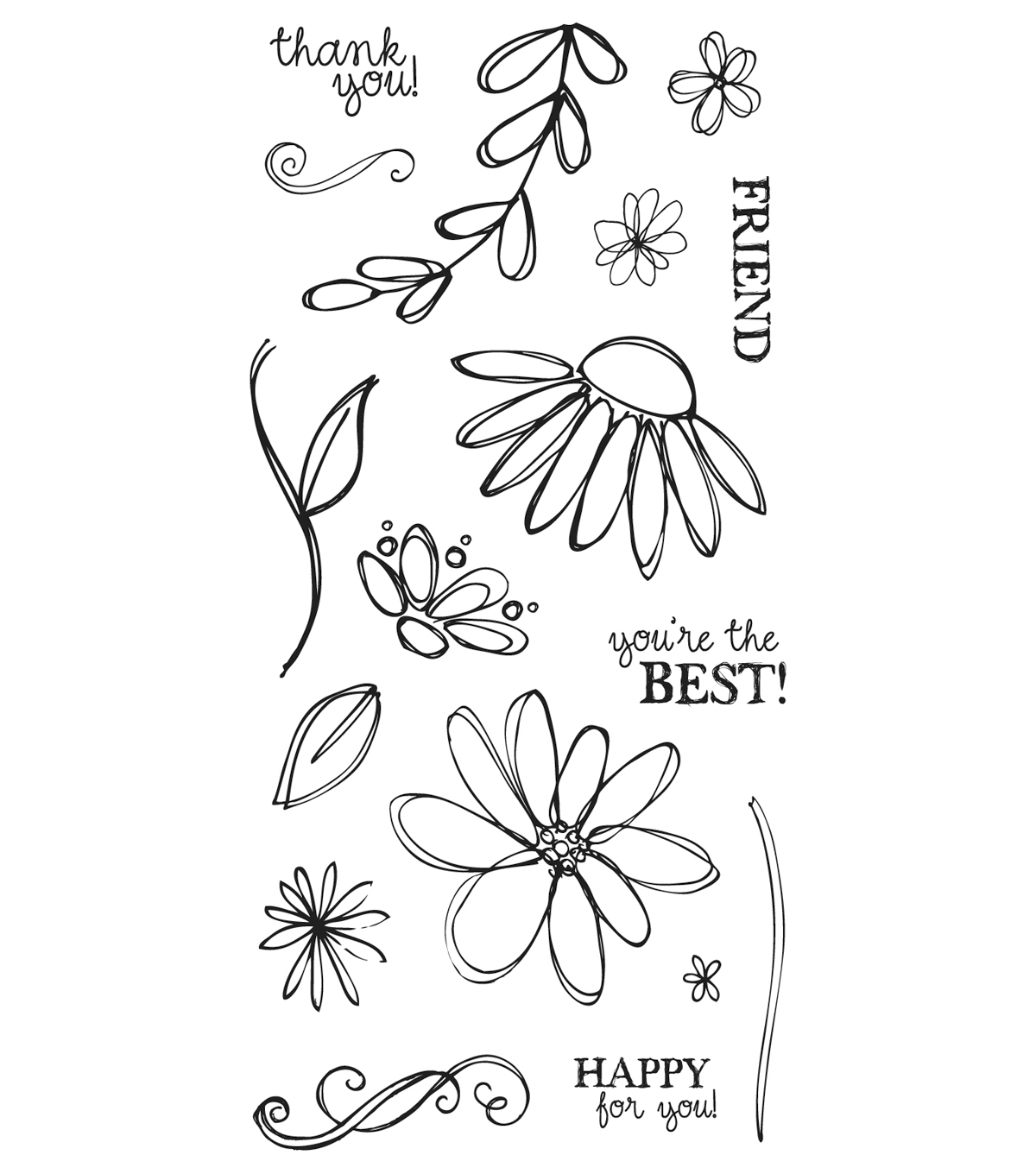 Fiskars Clear Stamps - Petals From Scratch (4x8)
