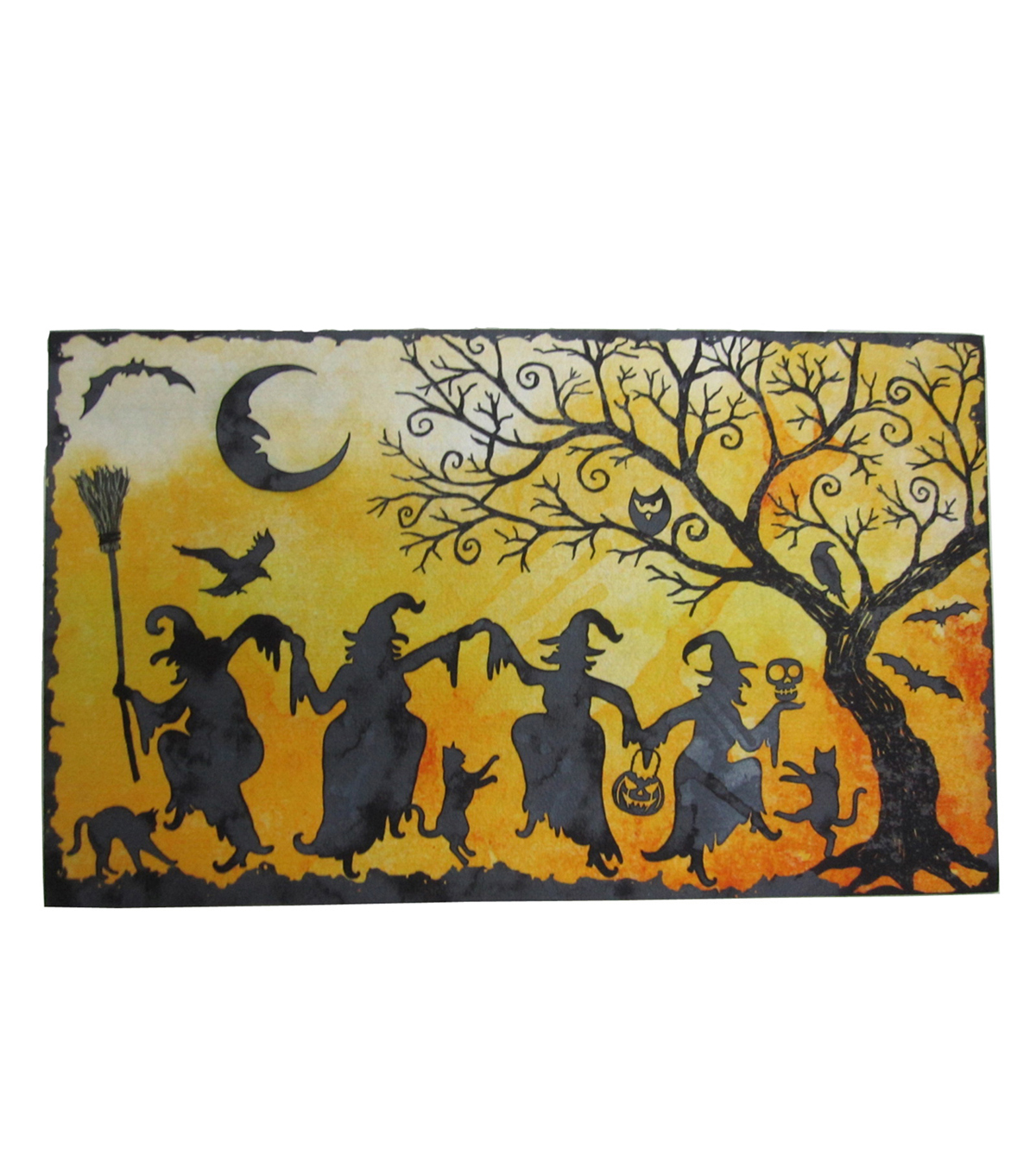 Maker\u0027s Halloween Rubber Door Mat-Dancing Witches