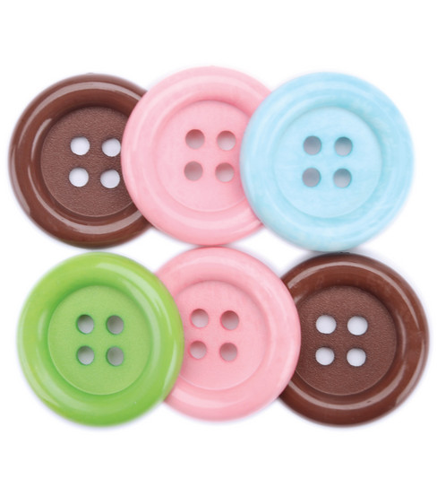 Favorite Findings Big Basic Buttons-Clean 6/Pkg