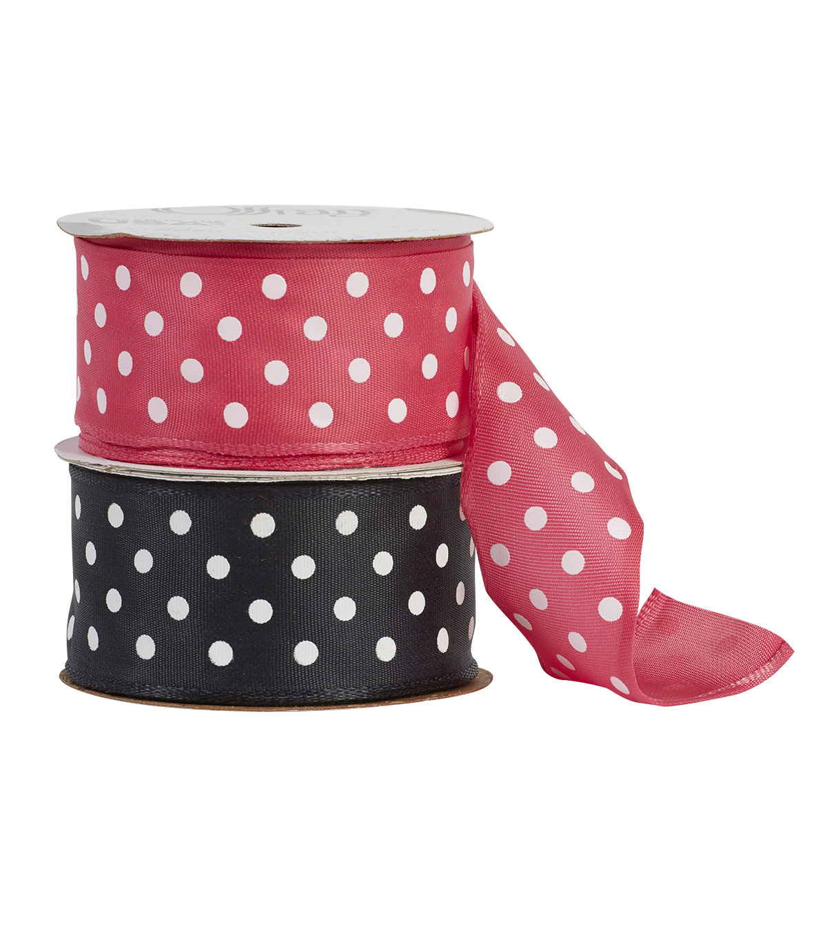 Offray 1.5\u0022x9\u0027 Woven Polka Dots Wired Edge Ribbon